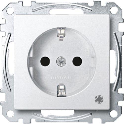 Merten MEG2354-0419 SCHUKO-stopcontact met aanduiding Koelkast, BRS, steekklemmen, poolwit, systeem M