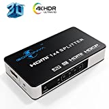 Goronya 4 Port HDMI Splitter 1 in 4 Out Amplifier Support 4K x 2K Ultra HD and 3D Full HD 1080P
