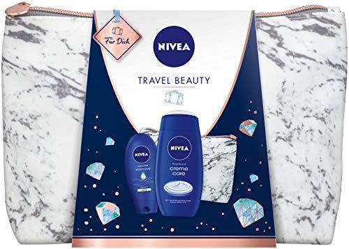 NIVEA Travel Beauty Geschenkset, Reiseset mit Kulturtasche, Pflegedusche und Handcreme, Weihnachtsgeschenk für besondere Wohlfühlmomente unterwegs oder zu Hause