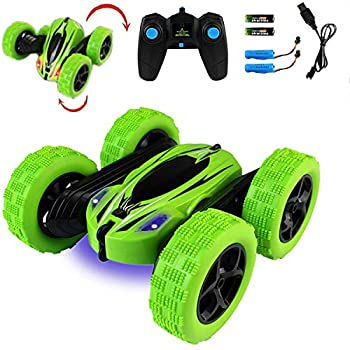 Jellydog Toy Stunt Rc Car Remote Control Car 360 Degree Flips Double Sided Rotating Race Car High Speed Flashing Remote Controlled Car for Kids,Green