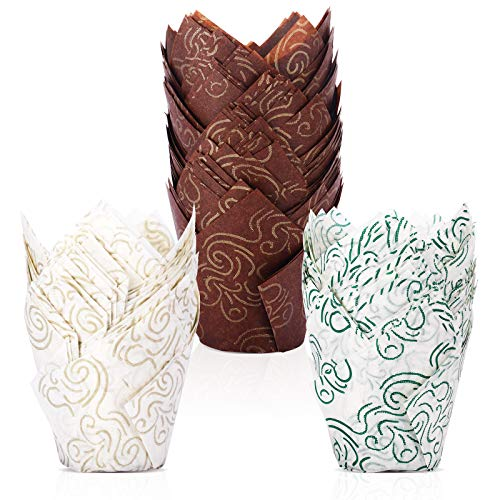 BAKHUK 200pcs Tulip Baking Cups Muffin Liners Wrappers Baking Cup Holders Cupcake Liners for Wedding, Birthday, Anniversary, Party in 3 Patterns