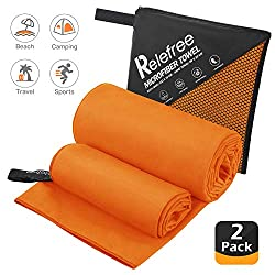 Relefree microfiber towel, 2 sizes, sports, travel, beach towel, 153x75cm and 80x30cm, quick-drying, extremely absorbent, suitable for fitness, camping, swimming, hiking