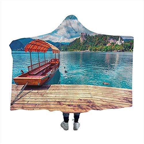 Biubiu-Shop Natuur Draagbare Hooded Deken Capuchon Poncho Traditionele Geisha Vrouw Gooi Deken Capuchon Mantel voor Volwassenen en Kinderen 60x50 inch