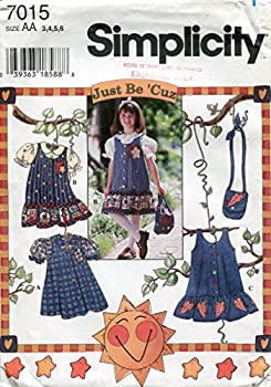Simplicity Just Be  Cuz Pattern 7015 Girls  Jumper or Dress Blouse and Purse AA  3-4-5-6