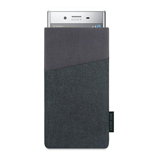 Adore June Tasche Clive kompatibel mit Sony Xperia XZ Premium, Handyhülle mit Extrafach & Bildschirm-Reinigungseffekt, Schwarz/Grau
