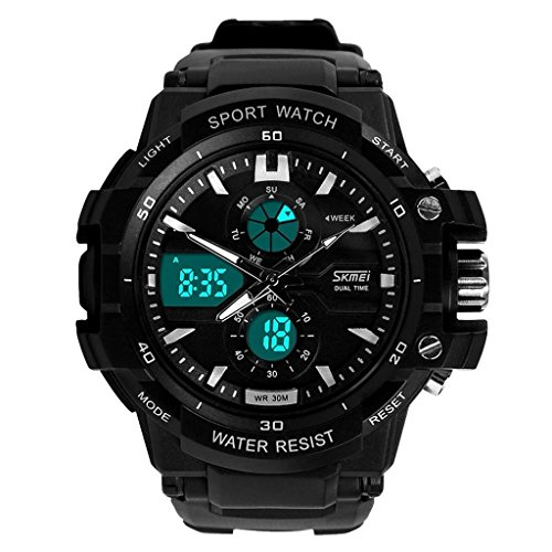 Qingmei Mens Sports Watch Skmei 0990 3ATM Water Resistant Digital & Analog with Soft Plastic Strap (Black + White)