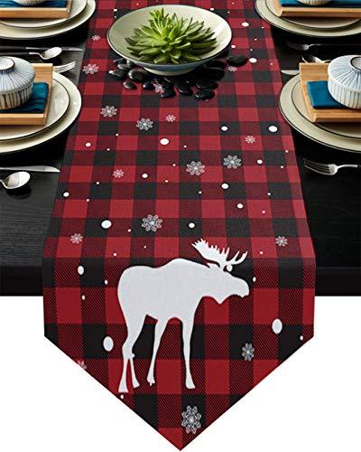 COMMER Camino de mesa, cuernos blancos y copos de nieve, bufandas de tocador, decoración de mesa para bodas, ceremonias/banquetes (33 x 228 cm)
