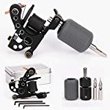 Tattoo Coil Machine 10 Wraps Coils Black Tattoo Machine Selflock Tattoo Grip 25mm Silicone Grips Cover 28mm Tattooing Tips 5F 5R Tattoo Kit for Liner Shader 2 Styles (Shader Kit) for Starter Tattooist