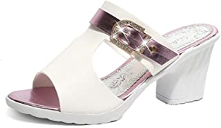 Cosplay-X Women's Open Toe Slide Heeled Sandals Chunky Low Heel Dress Party Mule Shoes