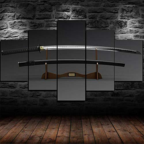 QMCVCDD Impresiones sobre Lienzo 5 Piezas,Modular Decoración De Pared Póster,5 Piezas Cuadro Regalo Creativo Espada Japonesa Katana Blade Enmarcada Decor Moderna Habitación Hogar
