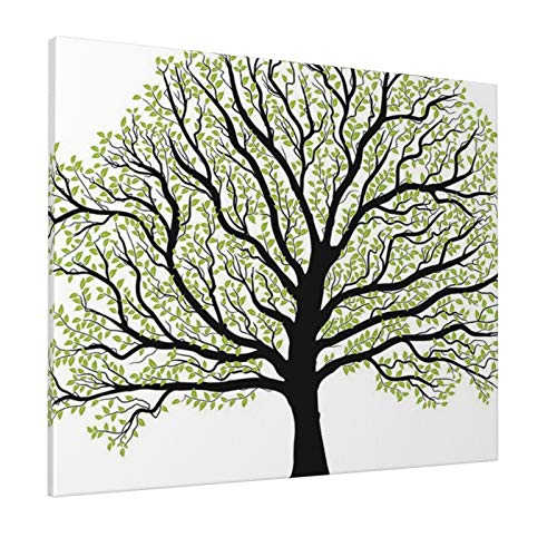 """Tree of Life Decor Big Old Lush Tree with Lot of Leaves and Branches Nature Trust Home Artprint Black White Greenpainting 16"""" X 20"""" Panoramic Canvas Wall Art"""