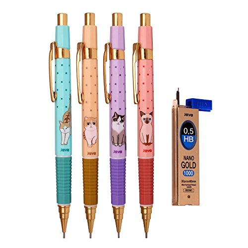 Java Pen Naong Style Cat Character Mechanical pencil 0.5 Mm - Pack of 4,Refill Leads 1 Tube