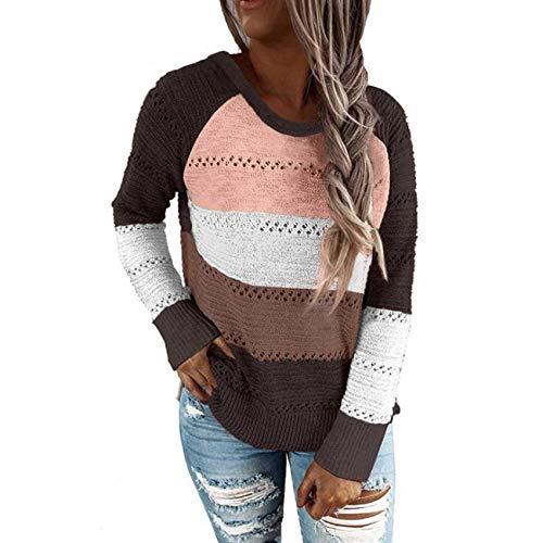 YZANYFQH OtoñO/Invierno Camisa Holgada De Rayas De Color A Juego para Mujer