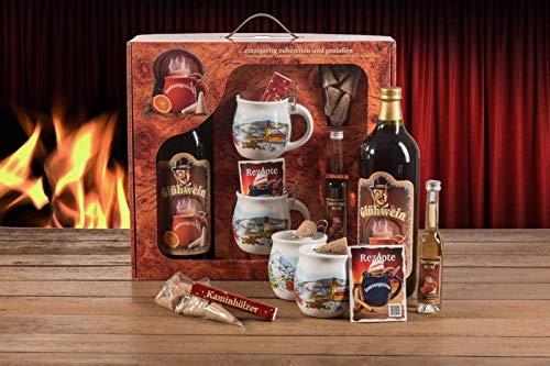 Feuerzangentasse Geschenkset, Wurzelholz, Weiß/Weihnachten - für Feuerzangenbowle