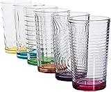 Astor24 PREMIUM Gläser Bunt – 6er Set Trinkgläser – Robust und Langlebig – Buntes Design – Wassergläser - 300ml (Bunt)