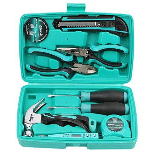 AIWO 10 Mixed General Hand Tool Kit,Mini Portable Tool Set,Home Repair Hand Tool Kit with Plastic Tool box Storage Case