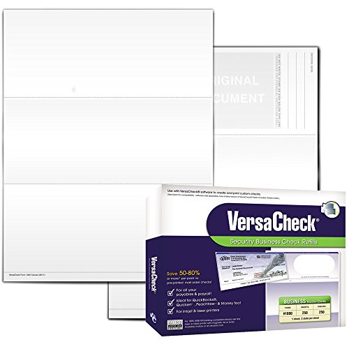VersaCheck Secure Checks - 250 Blank Business Voucher Checks - White Canvas - 250 Sheets Form #1000 - Check on Top