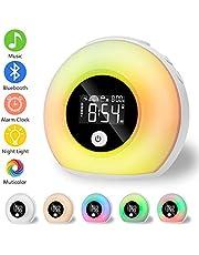 Luz Despertador, Linkax Wake Up Light LED Luces Despertador, Smart Despertadores infantil,Simulación de Amanecer y Anochecer, 7 Luces de Colores/2 Alarmas/Radio FM