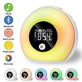 Linkax Wake Up Light Despertador Luz, LED Luces Despertador luz Nocturna, Luz colorida con altavoces Bluetooth und Modo de inducción para Adulto,Niño,Dormitorio