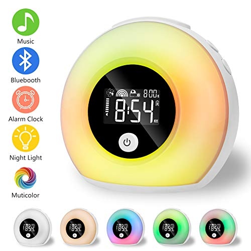 Linkax Wake Up Light Despertador Luz, LED Luces Despertador luz Nocturna, Luz colorida con altavoces Bluetooth und Modo de inducción para Adulto,Niño,Dormitorio