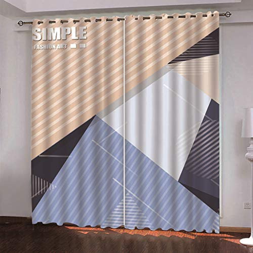 MMHJS Nordic Blackout Curtains Polyester Quick-Drying 3D Geometric Printing Curtains Bedroom Living Room Kitchen Vertical Floor Curtains Waterproof 2 Pieces