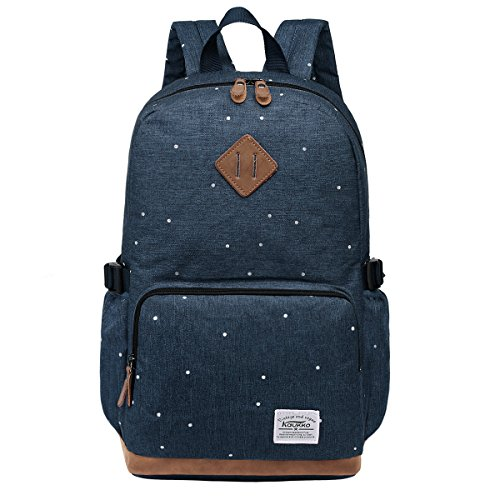 S-ZONE 15.6 Inch Laptop Classical Stylish Fashion Students Large Lightweight School Backpack Travel Outdoor Oxford Plenty Room College Rucksak for Teenager Weekend Bag