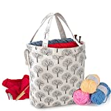 Teamoy Knitting Tote Bag with Drawstring Closure, Portable Yarn Storage Bag for Knitting Needles, Yarn Skein and Crochet Supplies, Tree (Bag Only)
