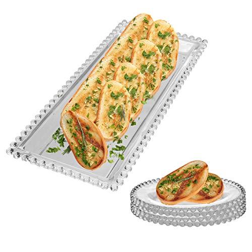 Glass Serving Tray & 4 Side Plates - Tableware Starter Platter & Bread Plate Set