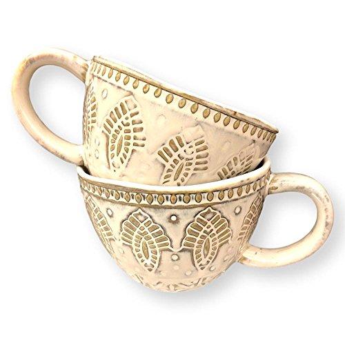 AllAsta Coffee Mugs Set Mandala Stoneware Textured Imprinted Glazed Ceramic Extra Large Mug Handmade Neutral Beige Off White 16 Ounces Set of 2
