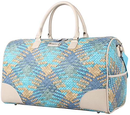Nicole Miller New York Designer Duffel Bag Collection - Lightweight 21 Inch Travel Tote for Men & Women - Weekender Overnight Gym Carry On Suitcase (Sharon City Woven Teal)