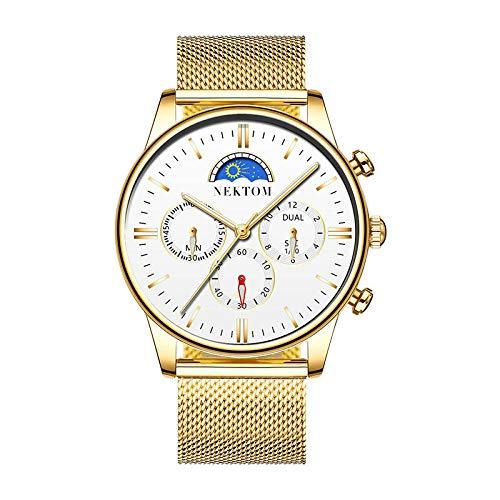 Relojes para Hombre Reloj de Pulsera con cronógrafo de Negocios de Cuero Impermeable de diseñador Elegante-D