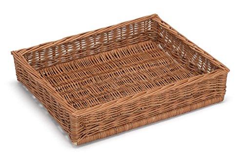 Prestige Wicker Large Display Storgae Basket 50x40Cm, Willow, Natural, 50 x 40 x 10 cm