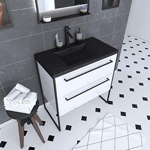 Aurlane PACM016 - Mueble de baño, color negro y blanco
