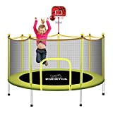 6FT Toddler Trampoline for Kids Indoor with Enclosure Toys for 2 3 4 5 6 7 Year Old Boys, Enclosed Mini Trampoline with Net and Basketball Hoop