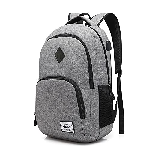 Laptop Rucksack Schulrucksack, Roysmart Herren College Daypack mit USB-Ladeanschluss Wasserdicht Leichte Minimalism Daypack Rucksack für Business Camping Outdoor - 15 Zoll (Grau)
