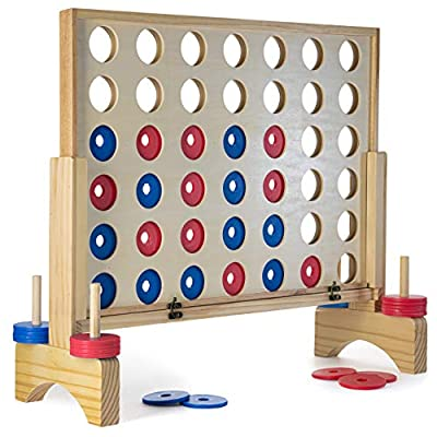 Prextex Giant 4 in A Row Wooden Family Game 27x24 inches Indoor/Outdoor Use Connect The 4 to Win Travel Bag Included by Prextex