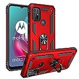 FTRONGRT Hülle für Motorola Moto G30,Doppelschicht-Design(TPU+PC) Stoßfest Hybrid Robuste Schutzhülle Mit Standfunktion,Hülle für Motorola Moto G30-rot