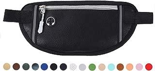 Money Belt Travel Wallet Passport Holder Waterproof Leather Sport Pockets Running Belt Waist Bag Fanny Pack Cellphone Belt Pouch Safe Secure Belt Messenger for Men and Women (Black)