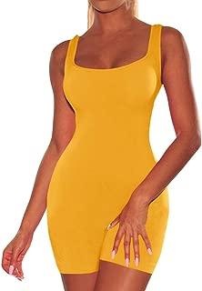 Hajotrawa Womens Summer Pure Colour O-Neck Pocket Sleeveless Jumpsuits Rompers