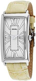 Jovial Men's Classic Beige Leather Band Steel Case Quartz Watch 08036-MSL-10