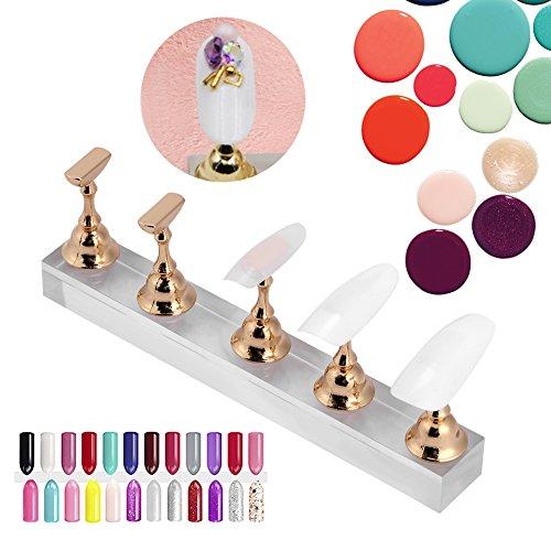 Yotown Magnetisch Nagel Tipps Ständer, Falsche Nagel Ausstellungsstand Halter gesetzte Nagel Kunst Praxis Goldmagnetischer Nagel, der Regal zeigt
