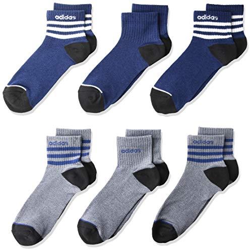 adidas Calcetines deportivos unisex para niños y jóvenes de 3 rayas (6 unidades), Unisex, Calcetines atléticos, 5149464B, Tech Indigo Blue - Legend Ink Blue Marl/ White/ Black, L