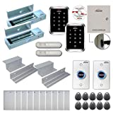 Visionis FPC-7928 Two Door Access Control Electromagnetic Lock Inswing Door 1200lbs TCP/IP Wiegand Controller Box, Outdoor Weatherproof Keypad/Reader, EM Mifare Compatible, Software, PIR Motion