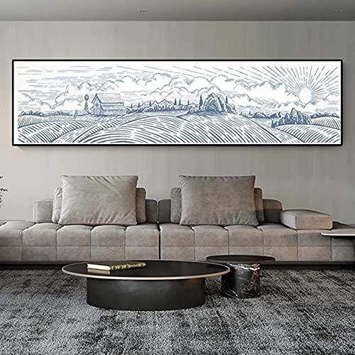 Ländliches Landschaftspanorama und Bauernfamiliendekoration nordisches Leinwandgemälde Wandgemälde im weißen Stil Landschaftsplakat Wohnzimmer 30x120 CM (Kein Rahmen)