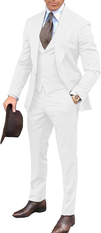 MLAEKT Men's Classic Fit 3 Pieces Tuxedo Suit Long Tail Jacket Waistcoat Pants