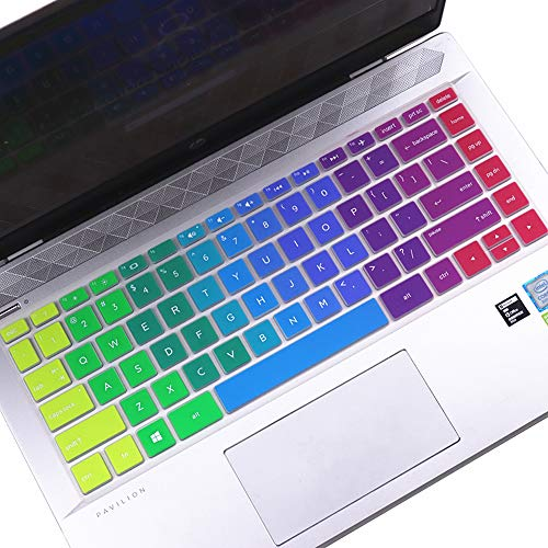 Colorful Keyboard Cover for 2020 2021 HP Pavilion X360 14 Laptop 14M-BA 14M-CD 14-BF 14-BW 14-cm 14-CF Series 14M-BA011DX BA013DX BA114DX BA015DX 14M-CD0001DX CD0003DX 14  Keyboard Cover Skin, Rainbow