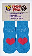 Woodrow Wear Power Paws, Traction Socks for Dogs, Blue with Red Heart, XXL