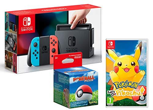 Nintendo Switch Rouge/Bleu Néon 32Go + Pokémon: Let´s Go, Pikachu! + Poké Ball Plus