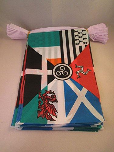AZ FLAG Multi Celtic 12 Meters Bunting Flag 20 Flags 18'' x 12'' - Celtic Countries String Flags 30 x 45 cm