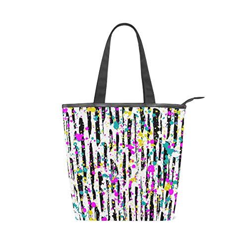 XiangHeFu Damen Handtaschen Bunte Streifen Dot Doodle Tote Canvas Umhängetasche